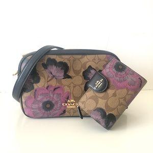 Coach Jes Kaffe Floral Brown Purse Wallet Set
